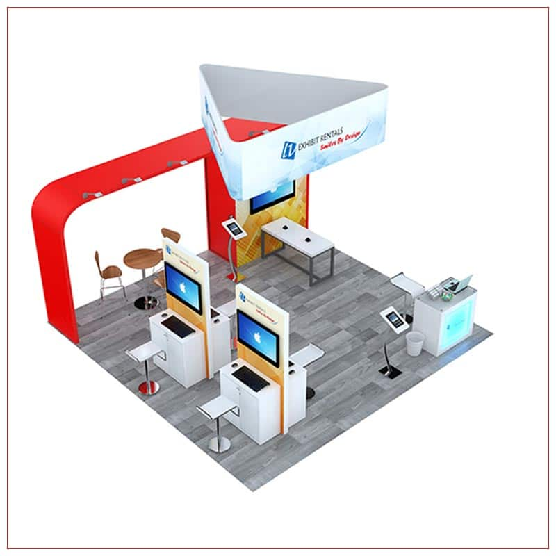 20x20 Trade Show Booth Rental Package 801 - Angle View - LV Exhibit Rentals in Las Vegas