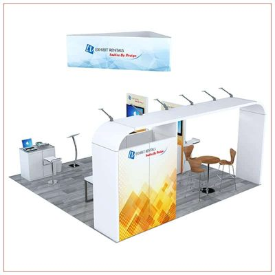 20x20 Trade Show Booth Rental Package 801 - Rear View - LV Exhibit Rentals in Las Vegas