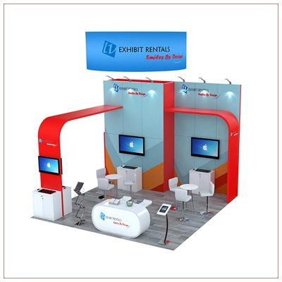 20x20 Trade Show Booth Rental Package 802 - Front Angle View - LV Exhibit Rentals in Las Vegas
