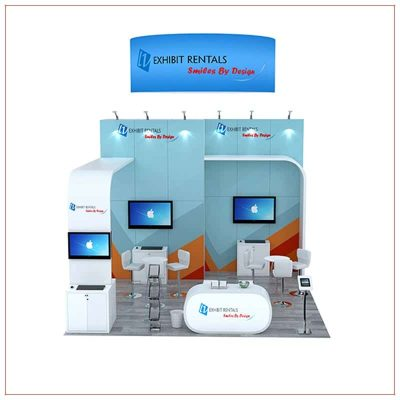 20x20 Trade Show Booth Rental Package 802 - Front View - LV Exhibit Rentals in Las Vegas