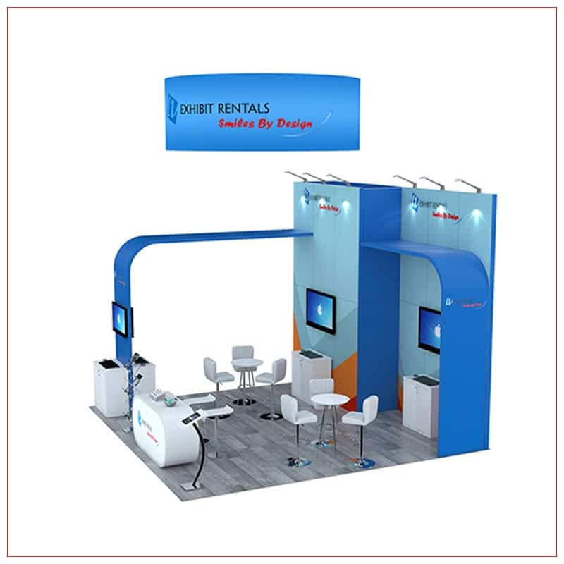 20x20 Trade Show Booth Rental Package 802 - Side View - LV Exhibit Rentals in Las Vegas