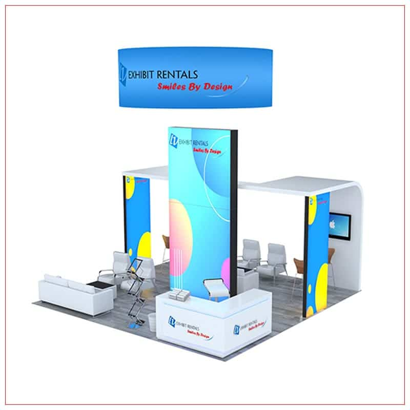 20x20 Trade Show Booth Rental Package 803 - Front Angle View - LV Exhibit Rentals in Las Vegas