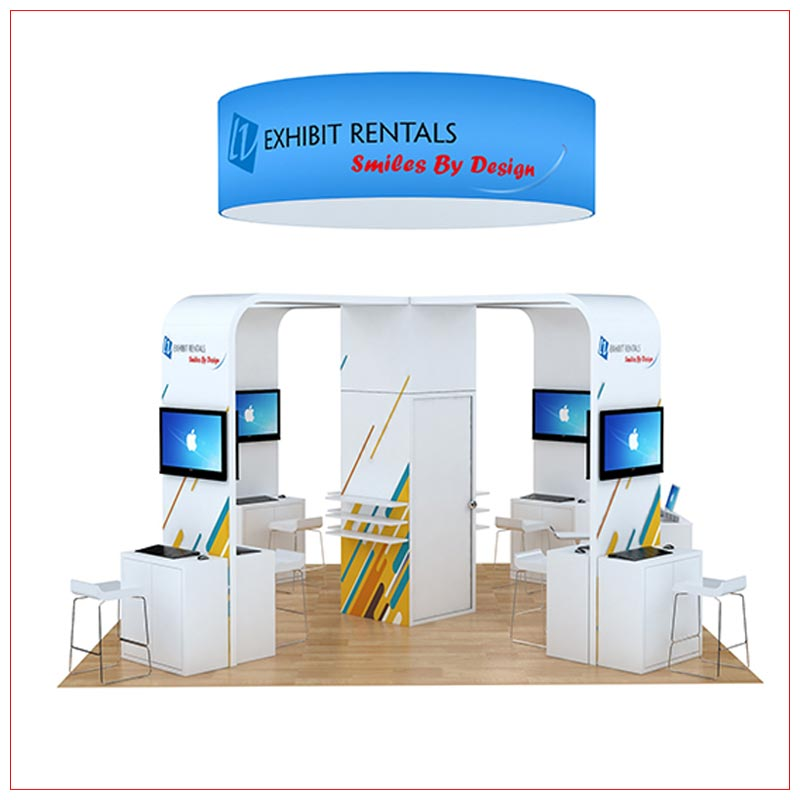 20x20 Trade Show Booth Rental Package 804 - Angle View - LV Exhibit Rentals in Las Vegas