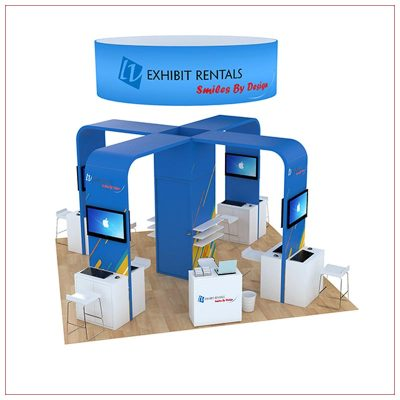 20x20 Trade Show Booth Rental Package 804 - Front View - LV Exhibit Rentals in Las Vegas