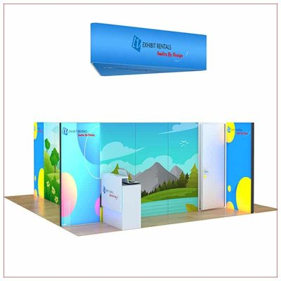 20x20 Trade Show Booth Rental Package 805 - Front Angle View - LV Exhibit Rentals in Las Vegas