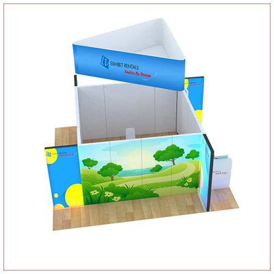 20x20 Trade Show Booth Rental Package 805 - Top-Down View - LV Exhibit Rentals in Las Vegas