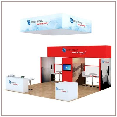 20x20 Trade Show Booth Rental Package 806 - Angle View - LV Exhibit Rentals in Las Vegas