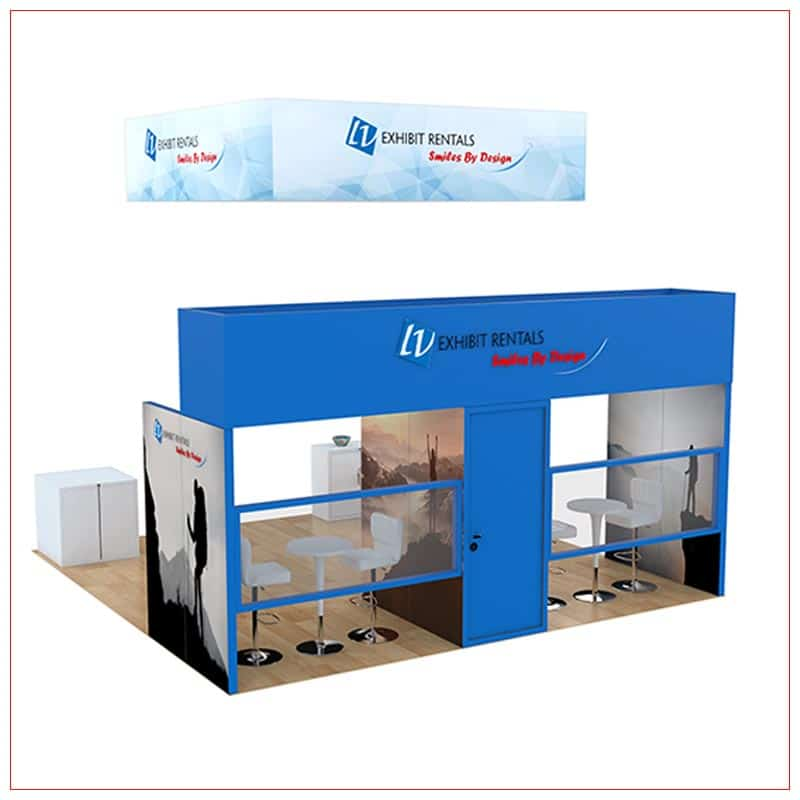 20x20 Trade Show Booth Rental Package 806 - Rear View - LV Exhibit Rentals in Las Vegas