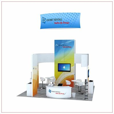 20x20 Trade Show Booth Rental Package 807 - Front View - LV Exhibit Rentals in Las Vegas