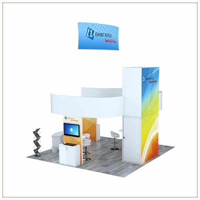 20x20 Trade Show Booth Rental Package 807 - Rear View - LV Exhibit Rentals in Las Vegas