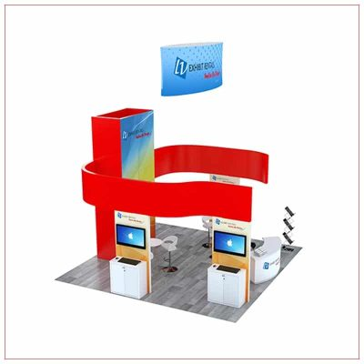 20x20 Trade Show Booth Rental Package 807 - Side View - LV Exhibit Rentals in Las Vegas