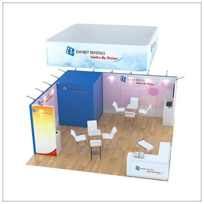 20x20 Trade Show Booth Rental Package 808 - Angle View - LV Exhibit Rentals in Las Vegas
