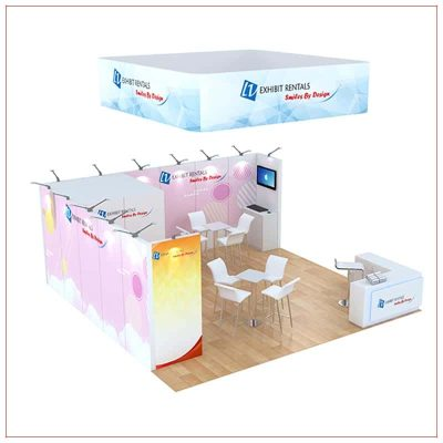 20x20 Trade Show Booth Rental Package 808 - Front Angle View - LV Exhibit Rentals in Las Vegas