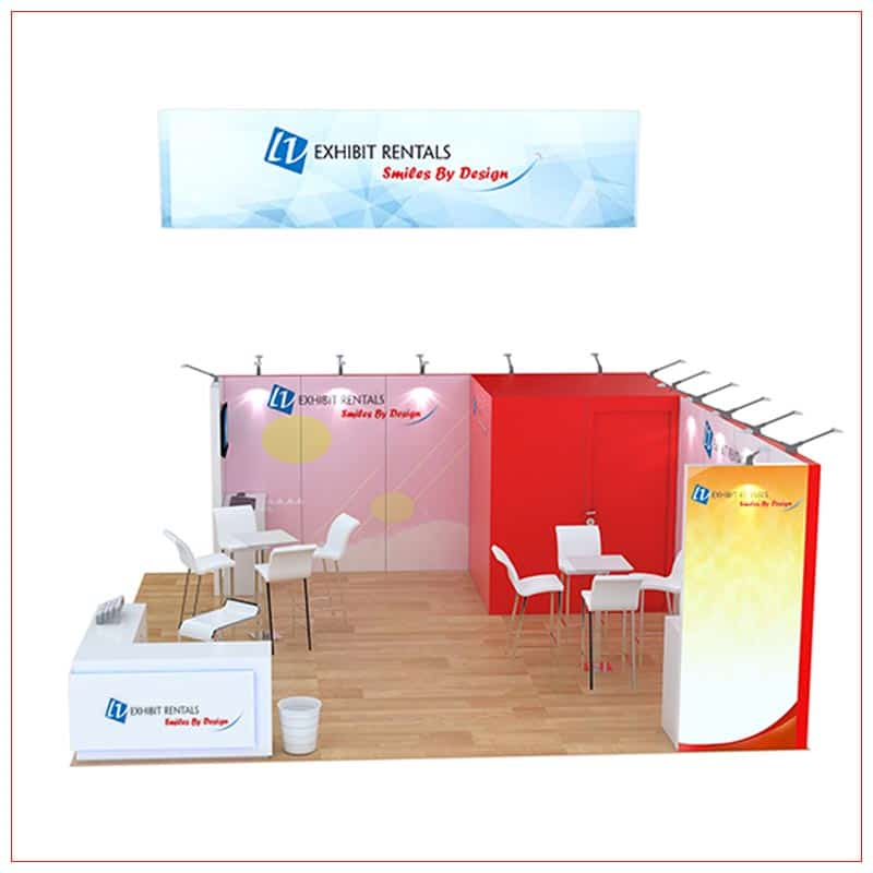 20x20 Trade Show Booth Rental Package 808 - Side View - LV Exhibit Rentals in Las Vegas