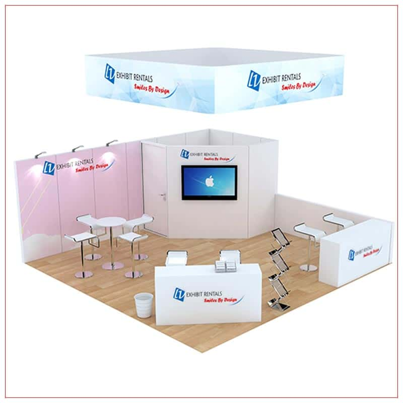 20x20 Trade Show Booth Rental Package 809 - Angle View - LV Exhibit Rentals in Las Vegas