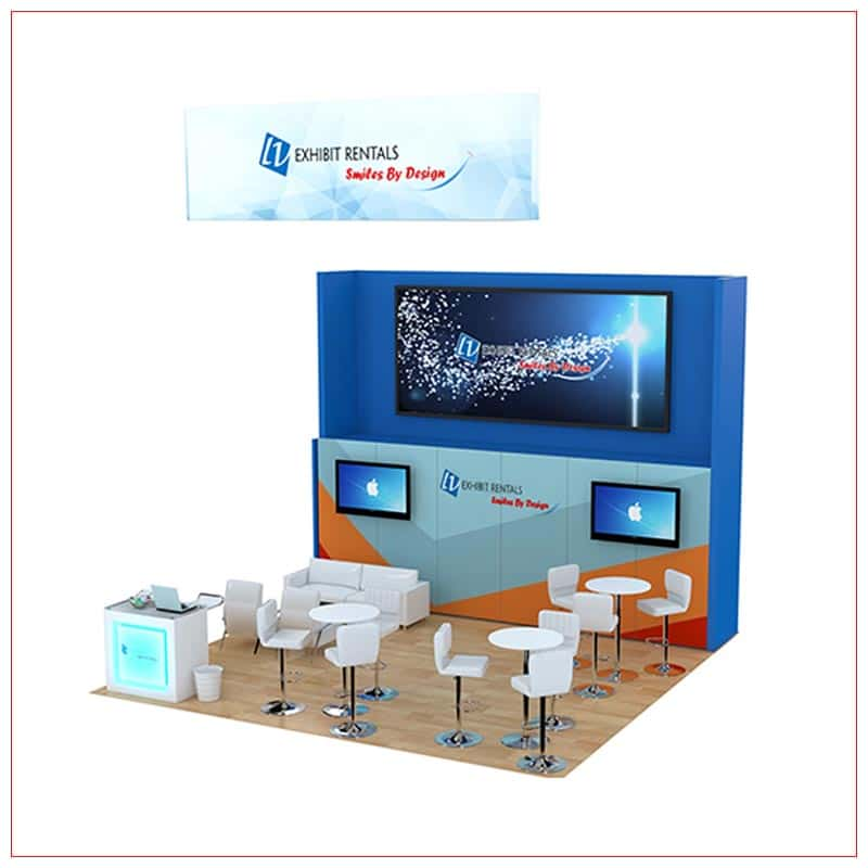 20x20 Trade Show Booth Rental Package 810 - Angle View - LV Exhibit Rentals in Las Vegas