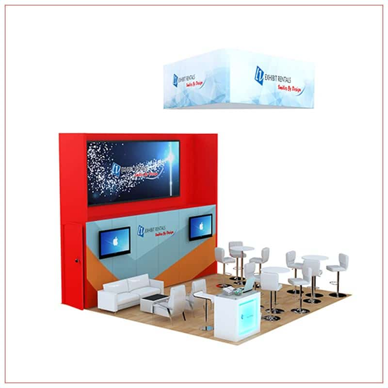 20x20 Trade Show Booth Rental Package 810 - Angle View2 - LV Exhibit Rentals in Las Vegas
