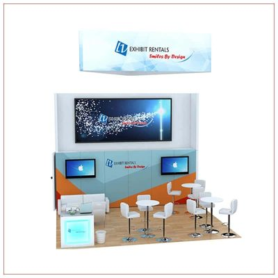 20x20 Trade Show Booth Rental Package 810 - Front View - LV Exhibit Rentals in Las Vegas