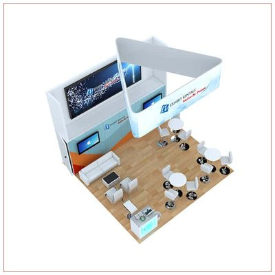 20x20 Trade Show Booth Rental Package 810 - Top-Down View - LV Exhibit Rentals in Las Vegas