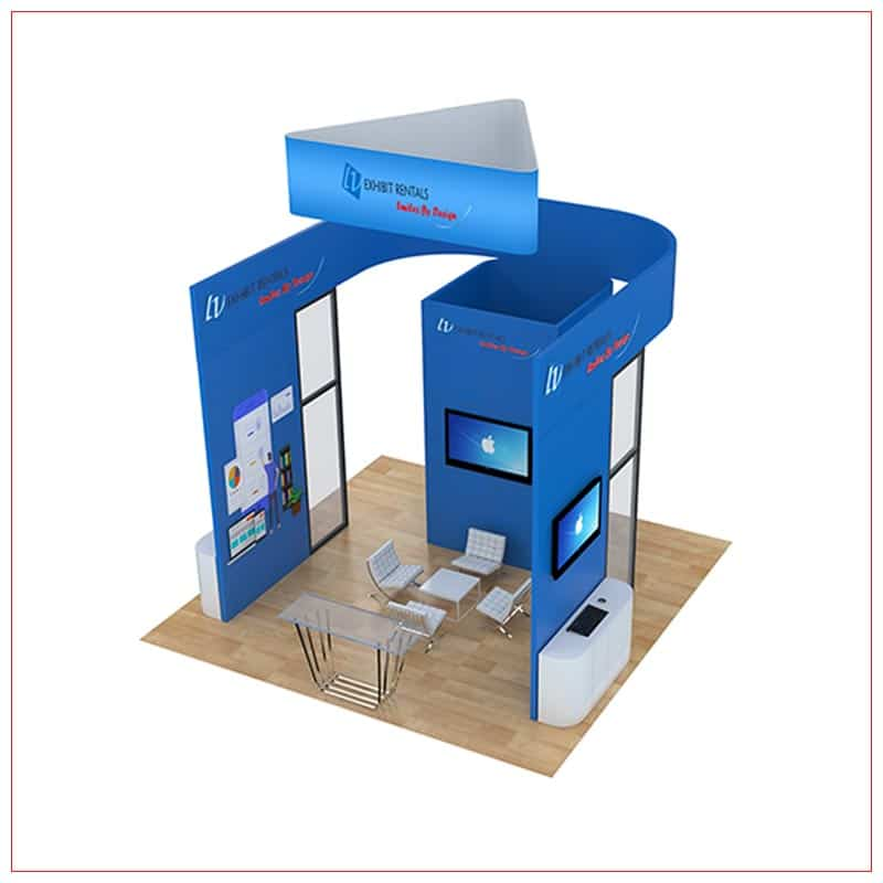 20x20 Trade Show Booth Rental Package 811 - Angle View - LV Exhibit Rentals in Las Vegas