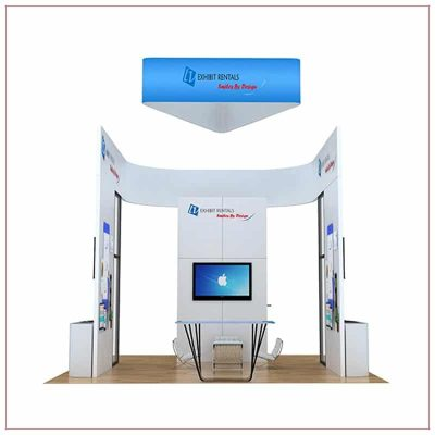 20x20 Trade Show Booth Rental Package 811 - Front View - LV Exhibit Rentals in Las Vegas