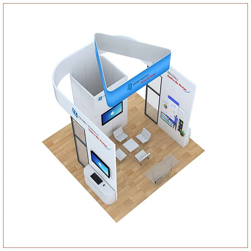 20x20 Trade Show Booth Rental Package 811 - Top-Down View - LV Exhibit Rentals in Las Vegas