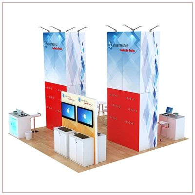 20x20 Trade Show Booth Rental Package 812 - Angle View - LV Exhibit Rentals in Las Vegas