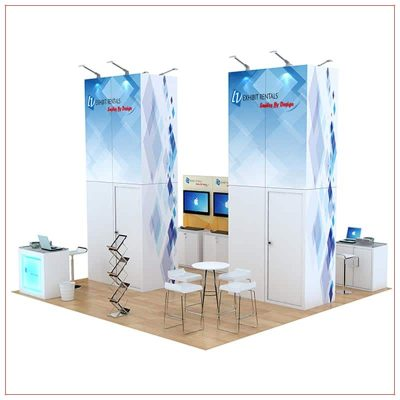 20x20 Trade Show Booth Rental Package 812 - Rear View - LV Exhibit Rentals in Las Vegas