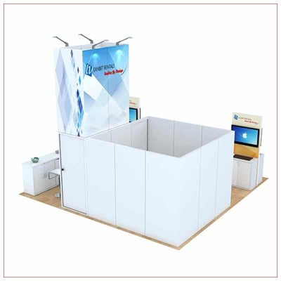 20x20 Trade Show Booth Rental Package 813 - Rear View - LV Exhibit Rentals in Las Vegas