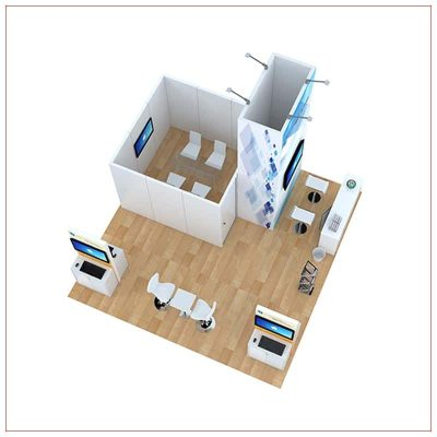 20x20 Trade Show Booth Rental Package 813 - Top-Down View - LV Exhibit Rentals in Las Vegas
