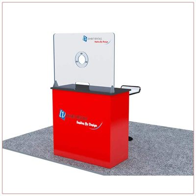 Covid 19 Prevention Counter Rental Package CV02 - Angle View - LV Exhibit Rentals in Las Vegas