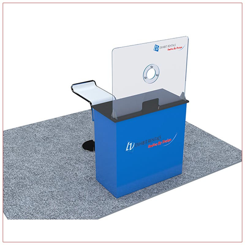 Covid 19 Prevention Counter Rental Package CV02 - Angle View2 - LV Exhibit Rentals in Las Vegas