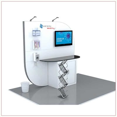 Covid 19 Prevention Kiosk Rental Package CV01 - Angle View - LV Exhibit Rentals in Las Vegas