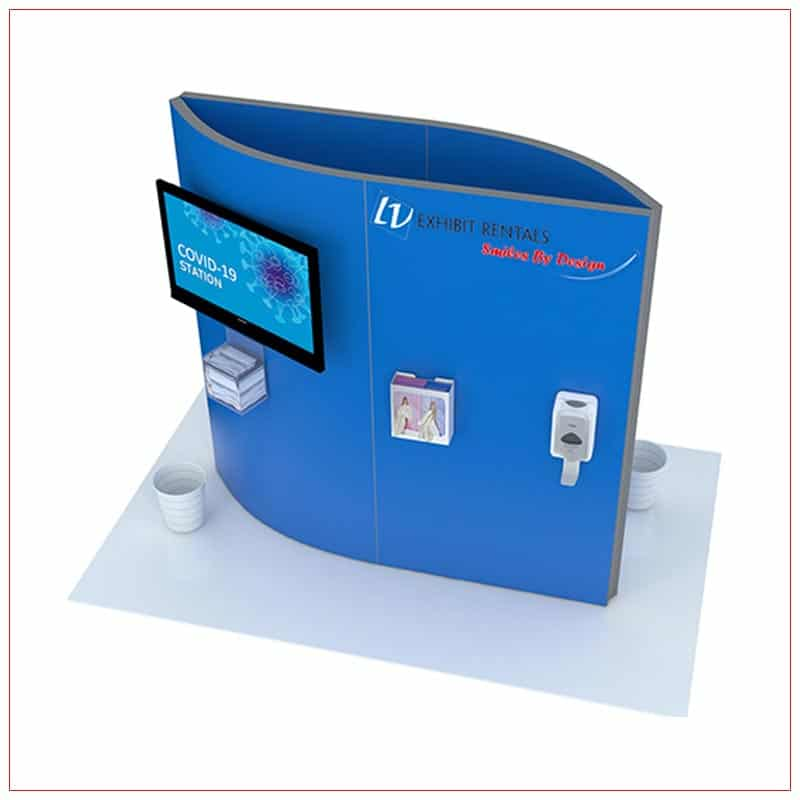 Covid 19 Prevention Kiosk Rental Package CV02 - Angle View - LV Exhibit Rentals in Las Vegas