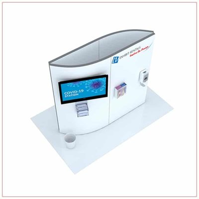 Covid 19 Prevention Kiosk Rental Package CV02 - Top-Down View - LV Exhibit Rentals in Las Vegas